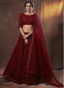 Floral Maroon Thread Net Lehenga Choli