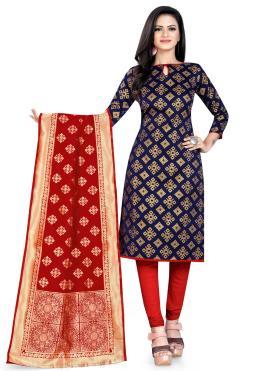 Floral Navy Blue Weaving Churidar Designer Suit