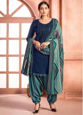 Floral Pashmina Embroidered Navy Blue Salwar Suit