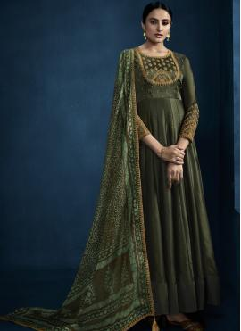 Foil Green Embroidered Designer Gown