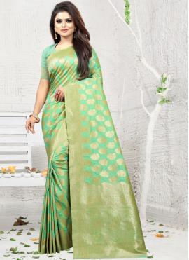 Genius Art Silk Weaving Sea Green Silk Saree