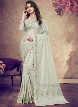 Genius Faux Georgette Resham Blue Designer Traditional Saree