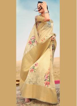 Genius Linen Floral Print Gold Contemporary Saree
