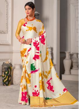Genius Multi Colour Printed Silk Casual Saree