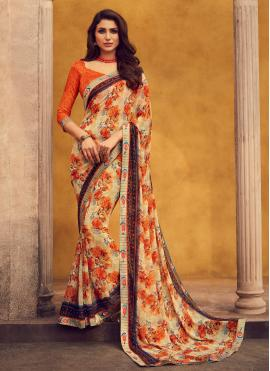 Georgette Beige Lace Designer Bollywood Saree