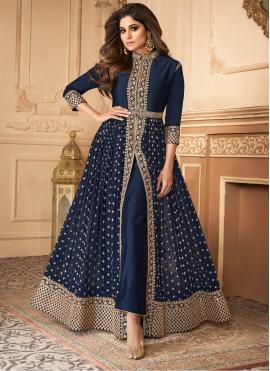Georgette Blue Trendy Salwar Suit