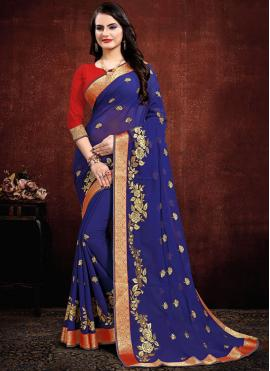 Georgette Contemporary Saree in Navy Blue