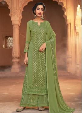 Georgette Designer Pakistani Salwar Suit in Green