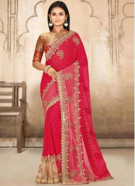 Georgette Designer Traditional Saree in Hot Pink