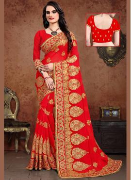 Georgette Embroidered Designer Saree in Red