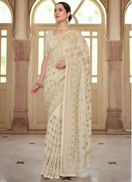 Georgette Embroidered Off White Trendy Saree