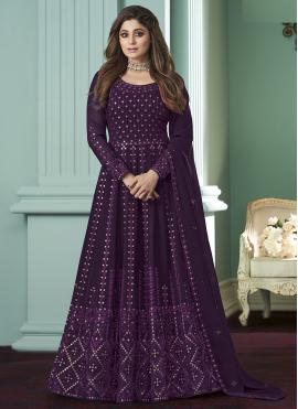 Georgette Embroidered Purple Anarkali Salwar Kameez