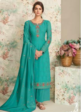 Georgette Embroidered Straight Pakistani Salwar Suit in Aqua Blue