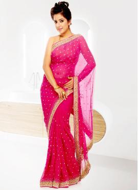 Georgette Handwork Pink Designer Saree