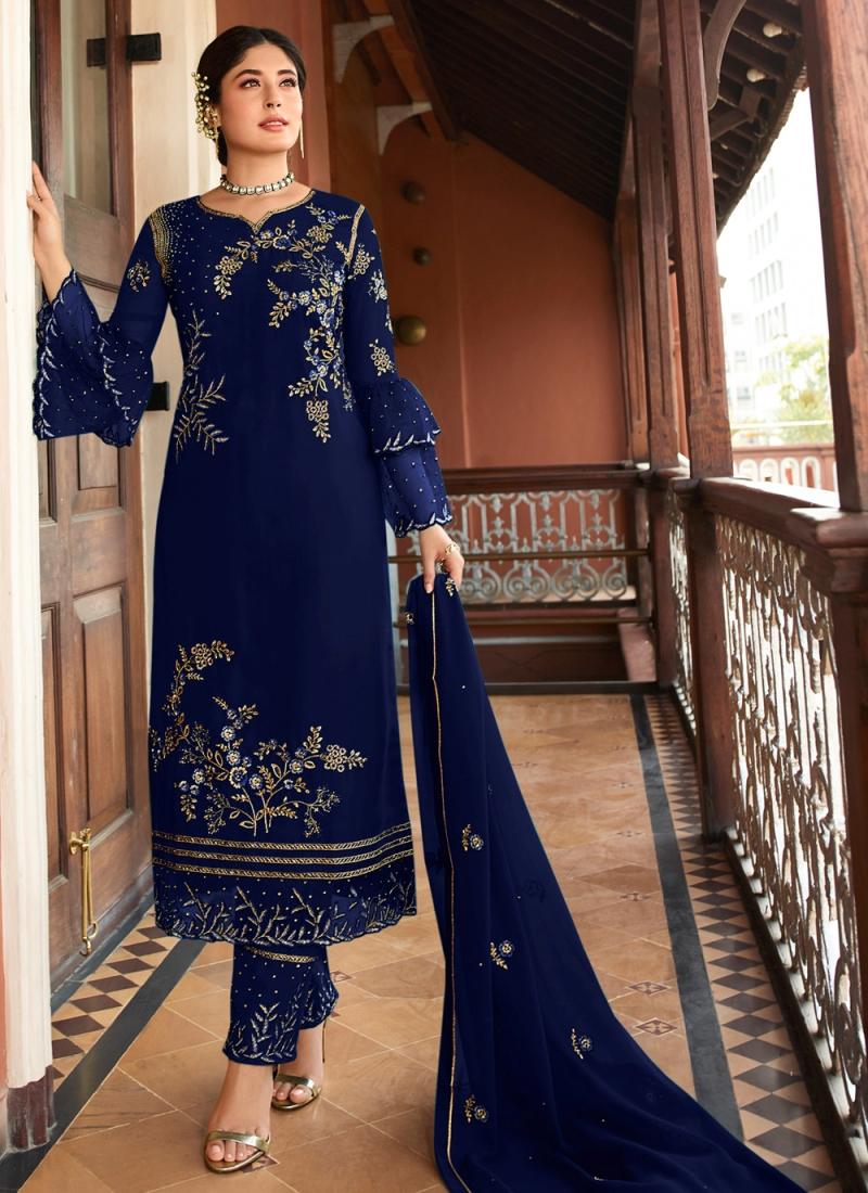 Georgette Navy Blue Embroidered Designer Suit