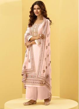 Georgette Pink Designer Palazzo Suit
