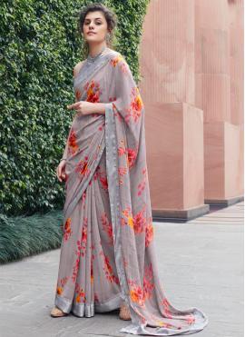 Georgette Printed Multi Colour Classic Saree