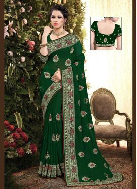 Georgette Resham Designer Saree in Green