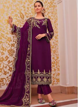 Georgette Salwar Suit in Purple