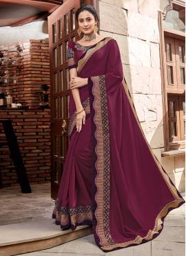 Georgette Satin Classic Designer Saree in Maroon