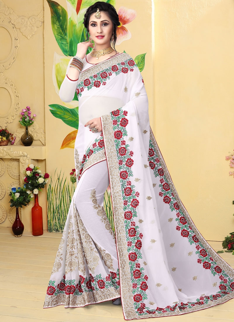 Georgette White Embroidered Designer Saree
