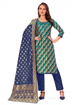 Gilded Banarasi Silk Weaving Green Pant Style Suit