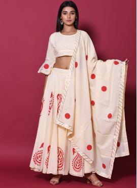 Gilded Cotton Block Print Lehenga Choli