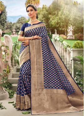 Girlish Blue Meena Traditional Designer Saree