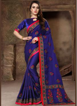 Girlish Embroidered Blue Designer Traditional Saree