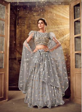 Girlish Grey Embroidered Bollywood Lehenga Choli