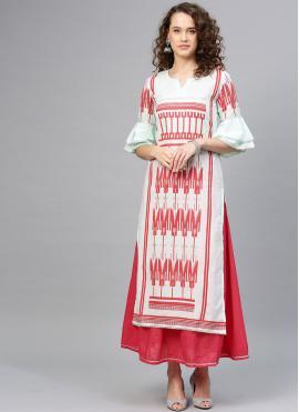 Girlish Printed Cotton Casual Kurti