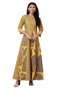 Girlish Printed Mustard Polyester Casual Kurti