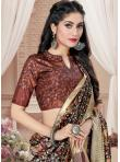 Glamorous Digital Print Tussar Silk Brown Printed Saree - 2