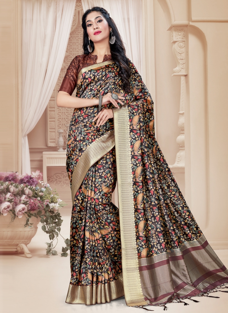 Glamorous Digital Print Tussar Silk Brown Printed Saree