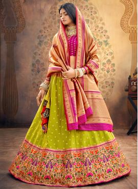 Glamorous Fancy Green Silk Lehenga Choli