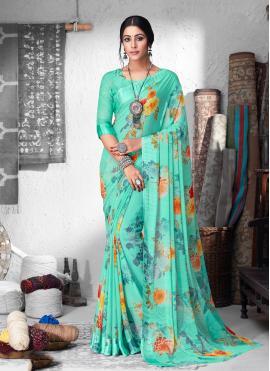 Glamorous Floral Print Casual Saree