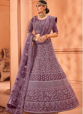 Glamorous Net Purple Resham Lehenga Choli