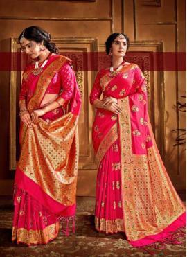 Glamorous Silk Pink Traditional Designer Saree