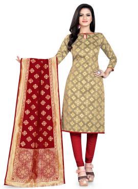 Glamorous Weaving Banarasi Silk Beige Churidar Salwar Suit
