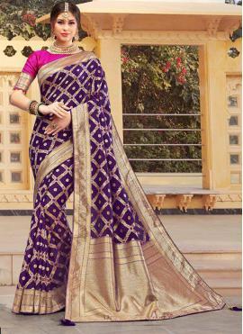 Glamorous Weaving Purple Silk Classic Designer Saree