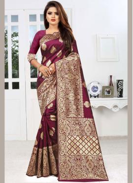 Gleaming Art Silk Weaving Maroon Classic Saree