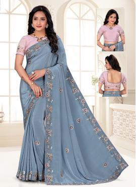 Gleaming Blue Faux Crepe Designer Saree