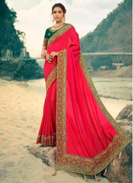 Gleaming Patch Border Silk Pink Contemporary Saree
