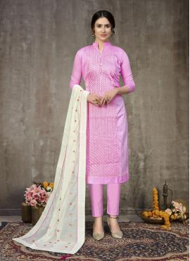 Gleaming Pink Embroidered Churidar Suit