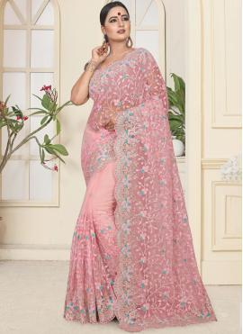 Gleaming Pink Resham Trendy Saree