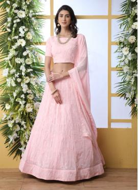Gleaming Thread Pink Georgette Lehenga Choli