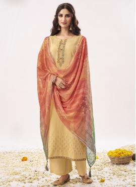 Glitzy Embroidered Beige Designer Pakistani Salwar Suit