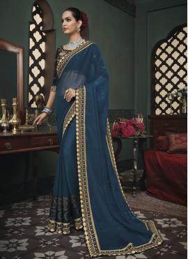 Glitzy Fancy Fabric Blue Classic Saree