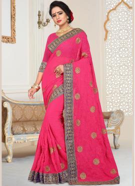Glitzy Faux Georgette Bridal Designer Traditional Saree