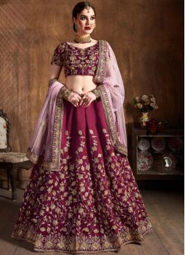 Glitzy Magenta Embroidered Raw Silk Lehenga Choli
